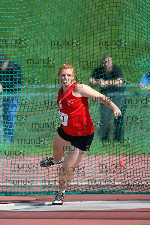(Sherbrooke, Quebec---10 August 2008) \NY\ competing in the discus at the 2008 Canadian National Youth and Royal Canadian Legion Track and Field Championships in Sherbrooke, Quebec. The photograph is copyright Sean Burges/Mundo Sport Images, 2008. More information can be found at www.msievents.com.