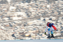 KITZBUHEL AUSTRIA. 22-01-2011. Didier Cuche (SUI) speeds down the course competing in the 71st Hahnenkamm downhill race part of  Audi FIS World Cup races in Kitzbuhel Austria.  Mandatory credit: Mitchell Gunn