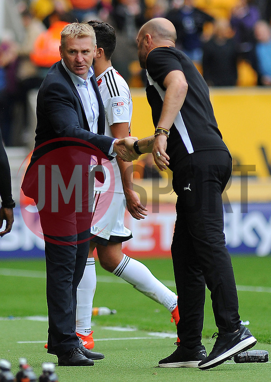 Brentford manager Dean Smith shakes hands with Wolverhampton Wanderers manager Walter Zenga after the final whistle - Mandatory by-line: Nizaam Jones/JMP - 24/09/2016/ - FOOTBALL - Molineux - Wolverhampton, England - Wolverhampton Wanderers v Brentford - Sky Bet Championship