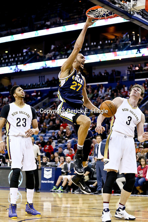 Feb 10, 2016; New Orleans, LA, USA; Utah Jazz center Rudy Gobert (27) dunks against the New Orleans Pelicans during the second half of a game at the Smoothie King Center. The Pelicans defeated the Jazz 100-96. Mandatory Credit: Derick E. Hingle-USA TODAY Sports
