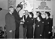 31/03/1963<br /> 03/31/1963<br /> 31 March 1963<br /> Civil Defence Competitions at Jervis Street Hospital, Dublin sponsored by W.D. &amp; H.O. Wills Ltd., for the Gold Flake Trophy. Mr. D.R. Mott, General Manager, W.D. &amp; H.O. Wills Ltd., Presenting the Gold Flake Trophy to Miss Frances Todd, Leader of the Dublin Area 3 (Rathmines) team that won the annual competition for the Dublin Area Civil Defence. Also in the picture are Mr. Michael O'Brien, Dublin Civil Defence Officer; Alderman J.J. O'Keeffe T.D., Lord Mayor and team members Miss Carmel Doyle, Mrs. F. Brierton and Miss Eithne McManus.
