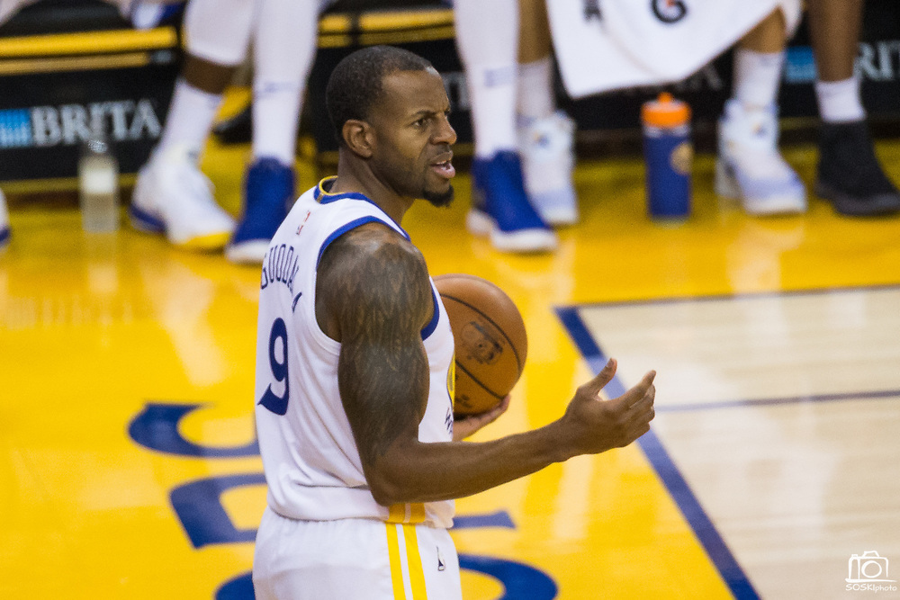 Golden State Warriors forward Andre Iguodala (9) reacts to a foul call during gameplay between the Golden State Warriors and the Utah Jazz at Oracle Arena in Oakland, Calif., on December 27, 2017. (Stan Olszewski/Special to S.F. Examiner)