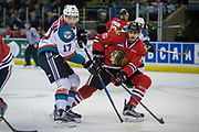 KELOWNA, CANADA - APRIL 07:  Rodney Southam #17 of the Kelowna Rockets, Shaun Dosanjh #15 of the Portland Winterhawks at the Kelowna Rockets game on April 07, 2017 at Prospera Place in Kelowna, British Columbia, Canada.  (Photo By Cindy Rogers/Nyasa Photography,  *** Local Caption ***