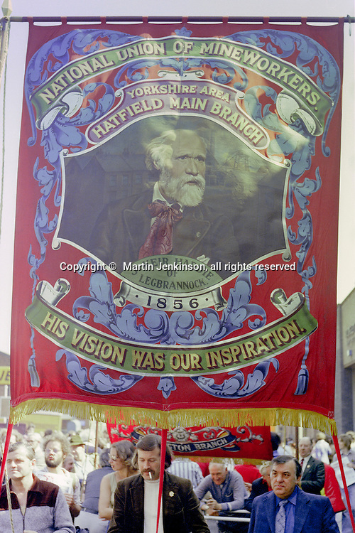 Hatfield Main Branch NUM banner at the start of a march against anti trade union legislation. Sheffield 1980.