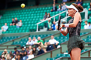 Paris, France - 2017 June 03: Agnieszka Radwanska from Poland plays a backhand during her women's single match third round  during tennis Grand Slam tournament The French Open 2017 (also called Roland Garros) at Stade Roland Garros on June 03, 2017 in Paris, France.<br /> <br /> Mandatory credit:<br /> Photo by © Adam Nurkiewicz<br /> <br /> Adam Nurkiewicz declares that he has no rights to the image of people at the photographs of his authorship.<br /> <br /> Picture also available in RAW (NEF) or TIFF format on special request.<br /> <br /> Any editorial, commercial or promotional use requires written permission from the author of image.