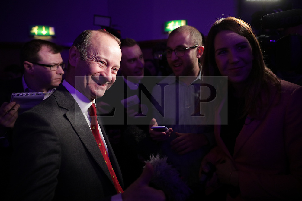 © Licensed to London News Pictures . 17/02/2018. Birmingham, UK. HENRY BOLTON being interviewed. Votes on whether to retain or dismiss Bolton as leader are counted . The NEC of UKIP meet to decide leader Henry Bolton's fate as leader following a racism row over his girlfriend Jo Marney and controversy over his claimed qualifications whilst serving in the military . Photo credit: Joel Goodman/LNP