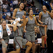 HARTFORD, CONNECTICUT- JANUARY 10: The UConn bench of starters celebrate a fourth quarter basket from left, Katie Lou Samuelson #33, Gabby Williams #15, Napheesa Collier #24 and Kia Nurse #11 and Saniya Chong #12 of the Connecticut Huskies in their record ninetieth win during the the UConn Huskies Vs USF Bulls, NCAA Women's Basketball game on January 10th, 2017 at the XL Center, Hartford, Connecticut. (Photo by Tim Clayton/Corbis via Getty Images)