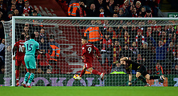 LIVERPOOL, ENGLAND - Saturday, December 29, 2018: Liverpool's Roberto Firmino scores the first equalising goal during the FA Premier League match between Liverpool FC and Arsenal FC at Anfield. (Pic by David Rawcliffe/Propaganda)