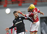 Dundee&rsquo;s Marcus Haber and Hamilton&rsquo;s Giorgos Sarris - Hamilton v Dundee in the Ladbrokes Scottish Premiership at Superseal stadium, Hamilton. Photo: David Young<br /> <br />  - &copy; David Young - www.davidyoungphoto.co.uk - email: davidyoungphoto@gmail.com