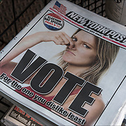 New York Post newspaper headlines on Election day morning before the vote.<br /> &quot; VOTE for the one you dislike least&quot;