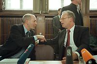 10 JAN 2001, BERLIN/GERMANY:<br /> Rudolf Scharping (R), SPD, Bundesverteidigungsminister, Klaus-Guenther Biederbrick (L), Staatssekretaer im BMVg, im Gespraech, nach einer Pressekonferenz zur Verwendung von uranhaltiger Munition, Bundesverteidigungsministerium<br /> IMAGE: 20010110-02/02-29<br /> KEYWORDS: Klaus-G&uuml;nther Biederbrick, Staatssekret&auml;r