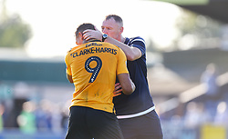 Bristol Rovers manager Graham Coughlan and Jonson Clarke-Harris share a moment at the final whistle - Mandatory by-line: Arron Gent/JMP - 21/09/2019 - FOOTBALL - Cherry Red Records Stadium - Kingston upon Thames, England - AFC Wimbledon v Bristol Rovers - Sky Bet League One