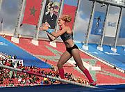 Jun 16, 2019; Rabat, Morocco; Sandi Morris (USA) celebrates after winning the women's pole vault at (4.82m) the women's 400m in 50.13during the Meeting International Mohammed VI d'Athletisme de Rabat at Prince Moulay Abdellah Stadium.