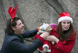 Repo Free: 27 November 2013<br /> Dustin the Turkey calls &lsquo;fowl play&rsquo; as Singer Brian Kennedy and Fair City actress Aoibheann McCaul try to stop him getting back on the Christmas airwaves at launch of Christmas FM, returning tomorrow 28th November to sprinkle lots of festive cheer and seasonal goodwill across Ireland in the run up to Christmas. From now until the 26th of December tune in to hear a host of very familiar radio voices who will be volunteering their time to bring you round-the-clock Christmas tunes and festive updates. This year, Christmas FM will be raising awareness and funds for Aware, the national organisation providing support, information and education services around depression to individuals, families and communities throughout Ireland. With every text sent, &euro;2 is donated to Aware, so get listening and get texting. <br /> Log onto www.christmasfm.com to listen live or to find your local frequency in your area. Pic Andres Poveda<br /> <br /> Follow the station on Facebook at www.facebook.com/christmasfm <br /> <br /> <br /> For further information, please contact:<br /> Breda Brown / Ailbhe Byrne<br /> Unique Media<br /> Tel: 01 522 5200 or 087 2487120 (BB)