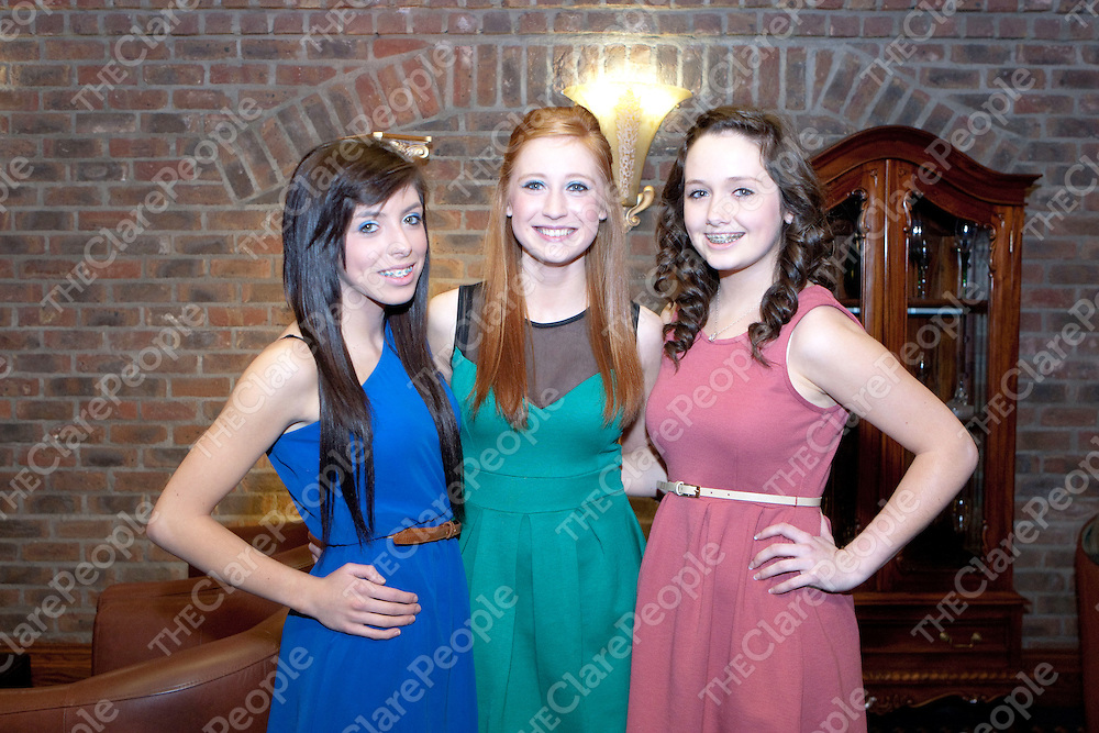 Alanna Kelly Orla Carol &amp; Caoimhe Heffernan pictured at the Sixmilebridge GAA Club awards Night in the Oakwood arms Hotel Shannon Co.Clare<br /> Picture Credit  Brian Gavin Press 22