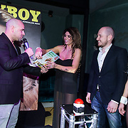 NLD/Amsterdam/20140410 - Presentatie Playboy met Melisa Schaufeli, partner Andy van der Meyde onthult haar cover en hoofdredacteur Patrick