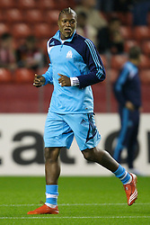 Liverpool, England - Wednesday, October 3, 2007: Olympique de Marseille's Djibril Cisse warms-up before the UEFA Champions League Group A match at Anfield. (Photo by David Rawcliffe/Propaganda)
