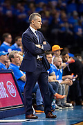 OKLAHOMA CITY, OK - APRIL 21: Head Coach Billy Donovan of the Oklahoma City Thunder watches his team during a game against the Portland Trail Blazers during Round One Game Three of the 2019 NBA Playoffs on April 21, 2019 at Chesapeake Energy Arena in Oklahoma City, Oklahoma  NOTE TO USER: User expressly acknowledges and agrees that, by downloading and or using this photograph, User is consenting to the terms and conditions of the Getty Images License Agreement.  The Trail Blazers defeated the Thunder 111-98.  (Photo by Wesley Hitt/Getty Images) *** Local Caption *** Billy Donovan
