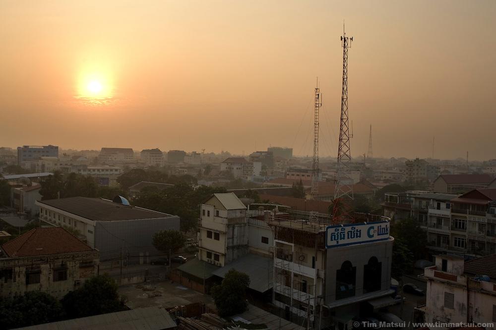 Skyline at dawn, Phnom Penh, Cambodia.