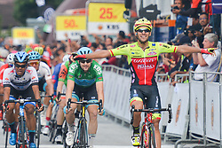 March 23, 2018 - Tanjung Malim, Malaysia - Luca Pacioni (Right) from Wilier Triestina-Selle Italia Team celebrates as he wins the sixth stage, the 108.5km from Tapah to Tanjung Malim, of the 2018 Le Tour de Langkawi. .On Friday, March 23, 2018, in Tanjung Malim, Malaysia. (Credit Image: © Artur Widak/NurPhoto via ZUMA Press)