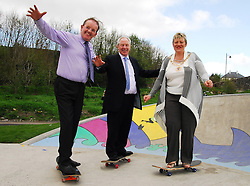 New to Skateboarding but Joining in on the fun,.Martin Keane Westport Town Council, Michael Ring Minister of State for Tourism & Sport and Cllr Tereasa McGuire took to the skateboards at the official opening of the Greenway Skatepark last friday...Pic Conor McKeown