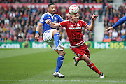 Ipswich Town midfielder, on loan from Bolton Wanderers,  Liam Feeney (12)  and Middlesbrough forward Jordan Rhodes (9)  during the Sky Bet Championship match between Middlesbrough and Ipswich Town at the Riverside Stadium, Middlesbrough, England on 23 April 2016. Photo by Simon Davies.