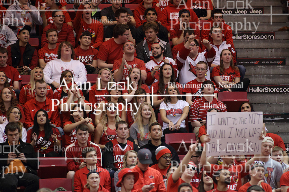 18 March 2015:  Fun with signs in the Red Alert student cheering section  during an NIT men's basketball game between the Green Bay Phoenix and the Illinois State Redbirds at Redbird Arena in Normal Illinois