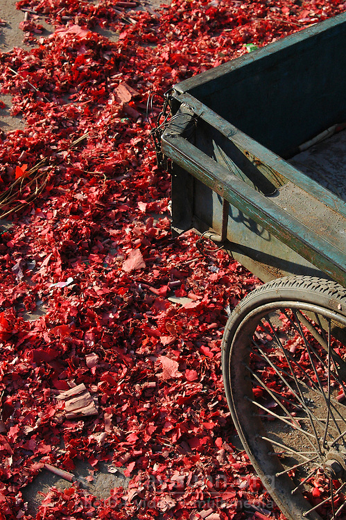 "China, Taiyuan, 2008. Remnants of thousands of firecrackers line the street beneath this ""sanluche,"" or three wheel bike cart."