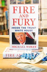 © Licensed to London News Pictures. 09/01/2018. London, UK. The book Launch of Fire And Fury: Inside Trump's Presidency goes on sale at Waterstone's book store in Piccadilly. Only 500 copies will be on sale today. The author MICHAEL WOLFF, writes and explosive account of the first year of newly elected president DONALD TRUMP. Photo credit: Ray Tang/LNP