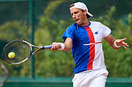 Paris, France - 2017 June 02: Lukasz Kubot from Poland plays a forehand while his men's double match second round during tennis Grand Slam tournament The French Open 2017 (also called Roland Garros) at Stade Roland Garros on June 02, 2017 in Paris, France.<br /> <br /> Mandatory credit:<br /> Photo by © Adam Nurkiewicz<br /> <br /> Adam Nurkiewicz declares that he has no rights to the image of people at the photographs of his authorship.<br /> <br /> Picture also available in RAW (NEF) or TIFF format on special request.<br /> <br /> Any editorial, commercial or promotional use requires written permission from the author of image.