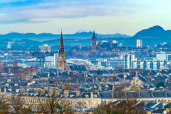 Skyline of Glasgow from Queens Park in Southside of the city. Scotland, United Kingdom