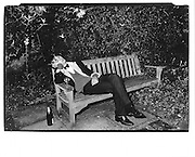 'Bullingden' boy asleep on bench, Christchurch May Ball, Oxford© Copyright Photograph by Dafydd Jones 66 Stockwell Park Rd. London SW9 0DA Tel 020 7733 0108 www.dafjones.com