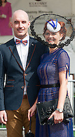 30/07/2015 report free : Winners Announced in Kilkenny Best Dressed Lady, Kilkenny Best Irish Design &amp; Kilkenny Best Hat Competition at Galway Races Ladies Day <br /> At the event was Tom Coyne, Galway with Tina Coyne, Kinsale Cork <br /> Photo:Andrew Downes, xposure