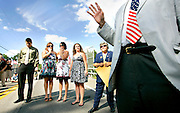 Members of Dan Healy's family including from left, his son Jake, 19, daughter Chelsea, 17, sisters, Jennifer Healy and Shannon Keane, and his mom Natalie Healy, listen as member of the N.H. Senate, Jack Barnes speaks during the bridge dedication ceremony in  Exeter N.H., Sunday July 19, 2009
