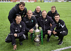 RHOSYMEDRE, WALES - Sunday, May 5, 2019: The New Saints staff with the trophy after the FAW JD Welsh Cup Final between Connah's Quay Nomads and The New Saints at The Rock. The New Saints won 3-0. L-R: Lead Sports Therapist Wayne Peter, xxxx, assistant coach Steven Evans, goalkeeper coach Paul Whitfield, manager Scott Ruscoe, Fitness Coach Ed Harper and Match Analyst Joe Newton. (Pic by David Rawcliffe/Propaganda)