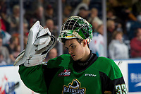 KELOWNA, BC - JANUARY 19: Ian Scott #33 of the Prince Albert Raiders stands at the bench and lowers his mask for the shootout against the Kelowna Rockets at Prospera Place on January 19, 2019 in Kelowna, Canada. (Photo by Marissa Baecker/Getty Images)***Local Caption***