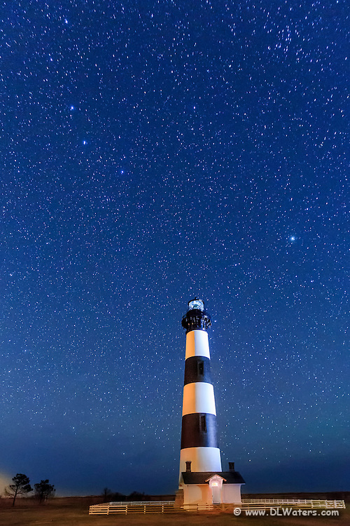 Bodie Island lighthouse and a star filled sky on the Outer Banks of North Carolina.