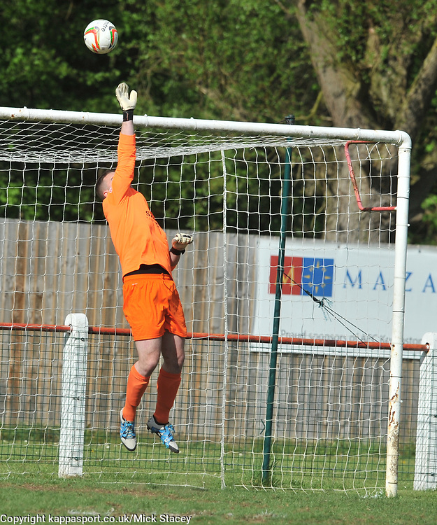 KEMPSTONS KEEPER CARL KNOX MAKES A GREAT SAVE FROM FLEET ATTACK, Kempston Rovers v Fleet Town, Evostick Southern League Central Saturday 15th April 2017. Score 3-1. Photo:Mike Capps