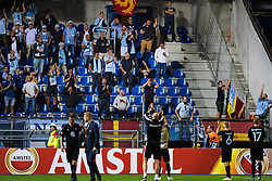 September 20, 2018 - Genk, Belgien - 180920 Head coach Uwe Rösler, Oscar Lewicki and Rasmus Bengtsson of Malmö FF recognizes the fans after the Europa League group stage match between Genk and Malmö FF on September 20, 2018 in Genk..Photo: Ludvig Thunman / BILDBYRÃ…N / kod LT / 35538 (Credit Image: © Ludvig Thunman/Bildbyran via ZUMA Press)