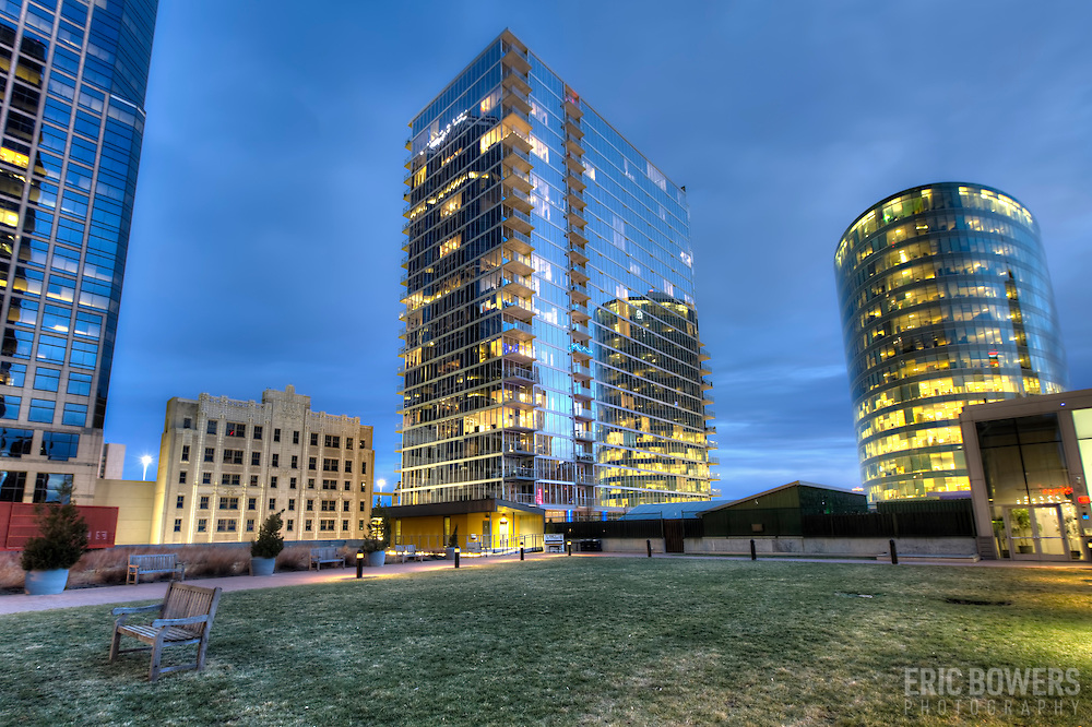 Exterior photography of One Light Tower in downtown Kansas City, MO. New-build residential highrise completed in 2015.