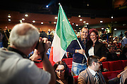 Supporter di 'Sovranità' al Teatro Brancaccio durante un comizio di Matteo Salvini, Roma 11 Maggio 2015. Christian Mantuano / OneShot <br /> <br /> Supporter of 'Sovranità' at the Teatro Brancaccio during a rally by Matteo Salvini, Rome May 11, 2015. Christian Mantuano / OneShot