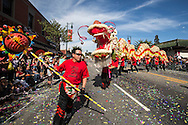 "Dragon dancers perform during the 114th annual Chinese New Year ""Golden Dragon Parade"" in the streets of Chinatown in Los Angeles, Saturday Feburary 16, 2013. (Photo by Ringo Chiu/PHOTOFORMULA.com)."
