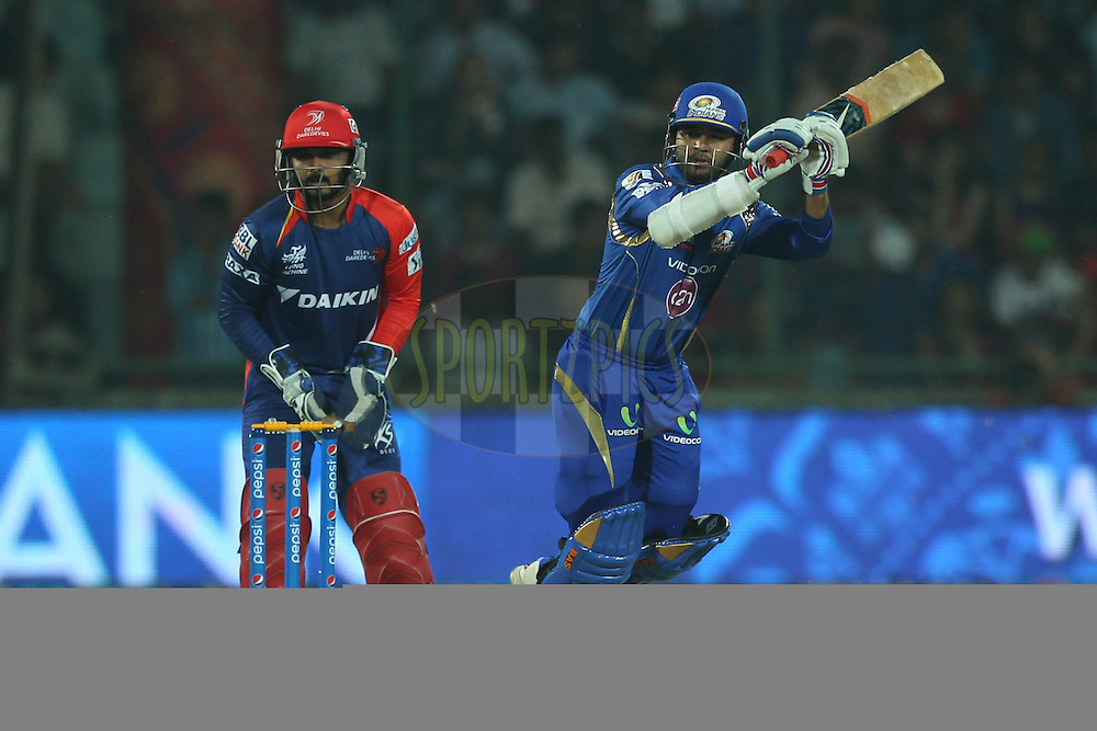 Parthia Patel of the Mumbai Indians bats during match 21 of the Pepsi IPL 2015 (Indian Premier League) between The Delhi Daredevils and The Mumbai Indians held at the Ferozeshah Kotla stadium in Delhi, India on the 23rd April 2015.<br /> <br /> Photo by:  Deepak Malik / SPORTZPICS / IPL