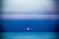 Ship on the River Forth, from West Shore Road, Edinburgh.
