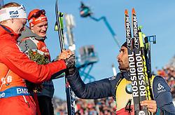 11.02.2017, Biathlonarena, Hochfilzen, AUT, IBU Weltmeisterschaften Biathlon, Hochfilzen 2017, Sprint Herren, Flowerzeremonie, im Bild Johannes Thingnes Boe (NOR, Silbermedaillen Gewinner), Sieger und Weltmeister Benedikt Doll (GER, Goldmedaillen Gewinner), Martin Fourcade (FRA, Bronzemedaillen Gewinner) // silver Medalist Johannes Thingnes Boe of Norway World Champion and Goldmedalist Benedikt Doll of Germany bronze Medalist Martin Fourcade of France during Flower Ceremony of Men's Sprint of the IBU Biathlon World Championships at the Biathlonarena in Hochfilzen, Austria on 2017/02/11. EXPA Pictures © 2017, PhotoCredit: EXPA/ JFK