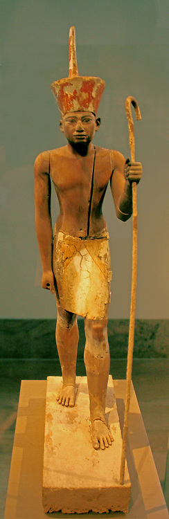 Funerary Guardian Figure and Shrine.  A Ritual Deposit.  The priests and family who built a large metsaba tomb for the overseer Imhotep, east of the pyramid of King Senwosret 1  also deposited various religiously significant objects in the area.  In 1914 Museum excavators discovered two wooden figures and a shrine in a small chamber.
