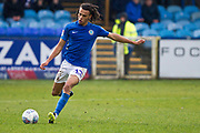 Macclesfield Town defender Miles Welch-Hayes in action during the EFL Sky Bet League 2 match between Macclesfield Town and Mansfield Town at Moss Rose, Macclesfield, United Kingdom on 16 November 2019.