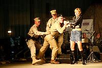 Sgt Major of the Army USO show.Arafjan base, Kuweit .2005.day 2..Al Franken as Saddam Hussein, with hostess Actress Traylor Howard.... Al Franken