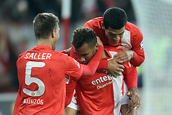 10.11.2013, Coface Arena, Mainz, GER, 1. FBL, 1. FSV Mainz 05 vs Eintracht Frankfurt, 12. Runde, im Bild Torjubel Mainz 05, links: Saller Benedikt (5) / FSV Mainz 05, mitte: Choupo-Moting, Eric Maxim (10) / FSV Mainz 05, rechts: Parker, Shawn (31) / FSV Mainz 05 // during the German Bundesliga 12th round match between 1. FSV Mainz 05 and Eintracht Frankfurt at the Coface Arena in Mainz, Germany on 2013/11/10. EXPA Pictures © 2013, PhotoCredit: EXPA/ Eibner-Pressefoto/ Kellner<br /> <br /> *****ATTENTION - OUT of GER*****