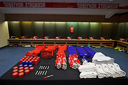 CARDIFF, WALES - Sunday, October 9, 2016: The Wales dressing room before the 2018 FIFA World Cup Qualifying Group D match against Georgia at the Cardiff City Stadium. (Pic by David Rawcliffe/Propaganda)